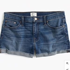 J Crew raw edge cuff denim shorts